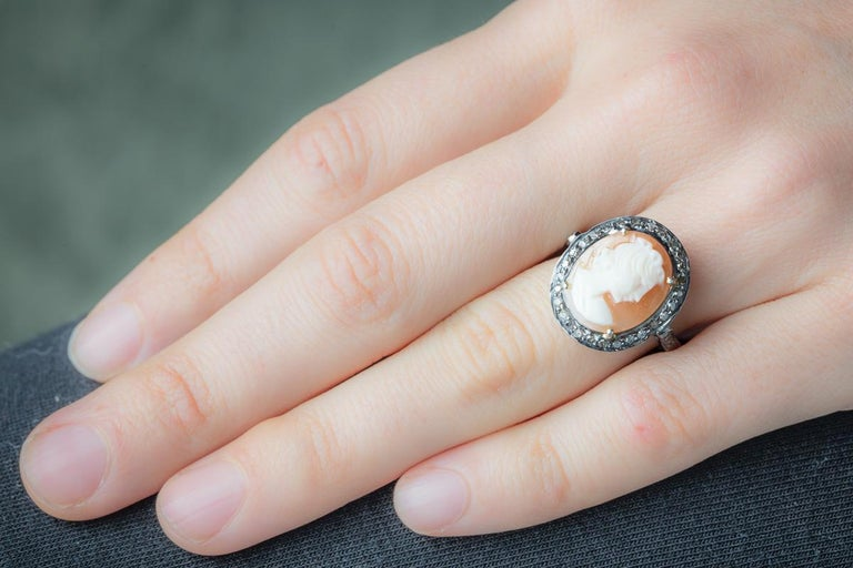 Diamond and Cameo Ring in Sterling Silver In Excellent Condition For Sale In Nantucket, MA