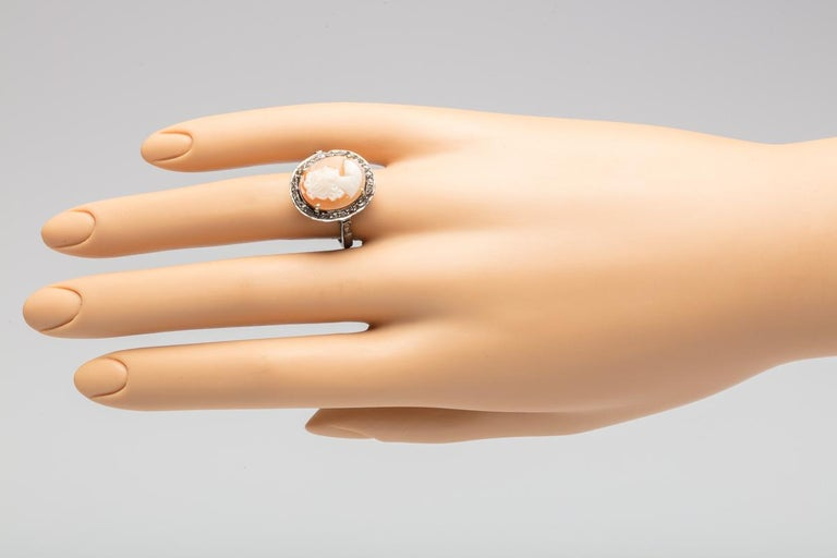 Women's or Men's Diamond and Cameo Ring in Sterling Silver For Sale