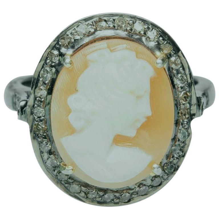 Diamond and Cameo Ring in Sterling Silver For Sale