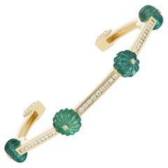 Diamond and Carved Emerald Yellow Gold Bracelet by Andrew Glassford