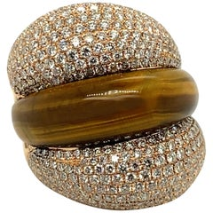 Diamond and Carved Tiger's Eye Quartz Polished 18 Karat Gold Cocktail Ring