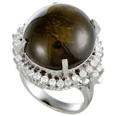 Diamond and Cat's Eye Platinum Dome Ring