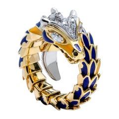 Diamond and Ceramic Dragon Ring, 18 Karat White Gold