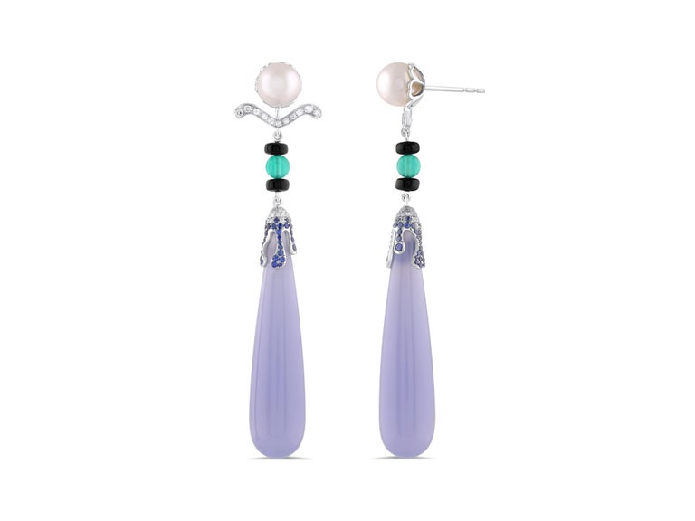 Art Deco Diamond and Chalcedony Earrings 18 Karat White Gold For Sale