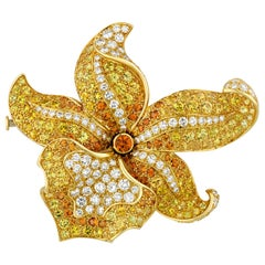 Diamond and Colored Gemstone Orchid Brooch by Tiffany & Co.