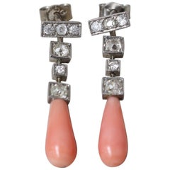 Diamond and Coral Art Deco 18-Carat White Gold Earrings, circa 1950s