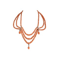 Diamond and Coral Necklace