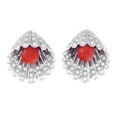 Diamond and Coral Shell Form 18k Earrings