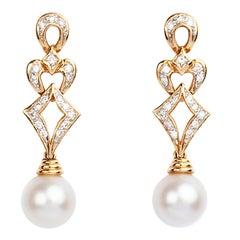 Diamond and Cultured Pearl 18 Karat Gold Earrings