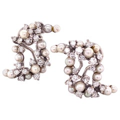 Diamond and Cultured Pearl Earrings in White Gold 750