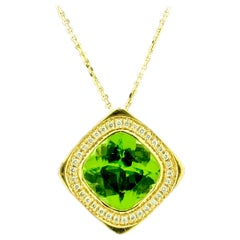 Diamond and Cushion Shape Peridot Pendant Necklace 14 Karat Yellow Gold