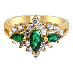 Diamond and Emerald 14 Karat Gold Ladies Ring