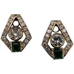 Diamond and Emerald 18 Karat Yellow Gold Clip Earrings, Circa 1950