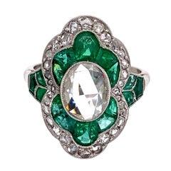 Diamond and Emerald Art Deco Style Platinum Ring Estate Fine Jewelry