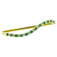 Diamond and Emerald Bangle Bracelet