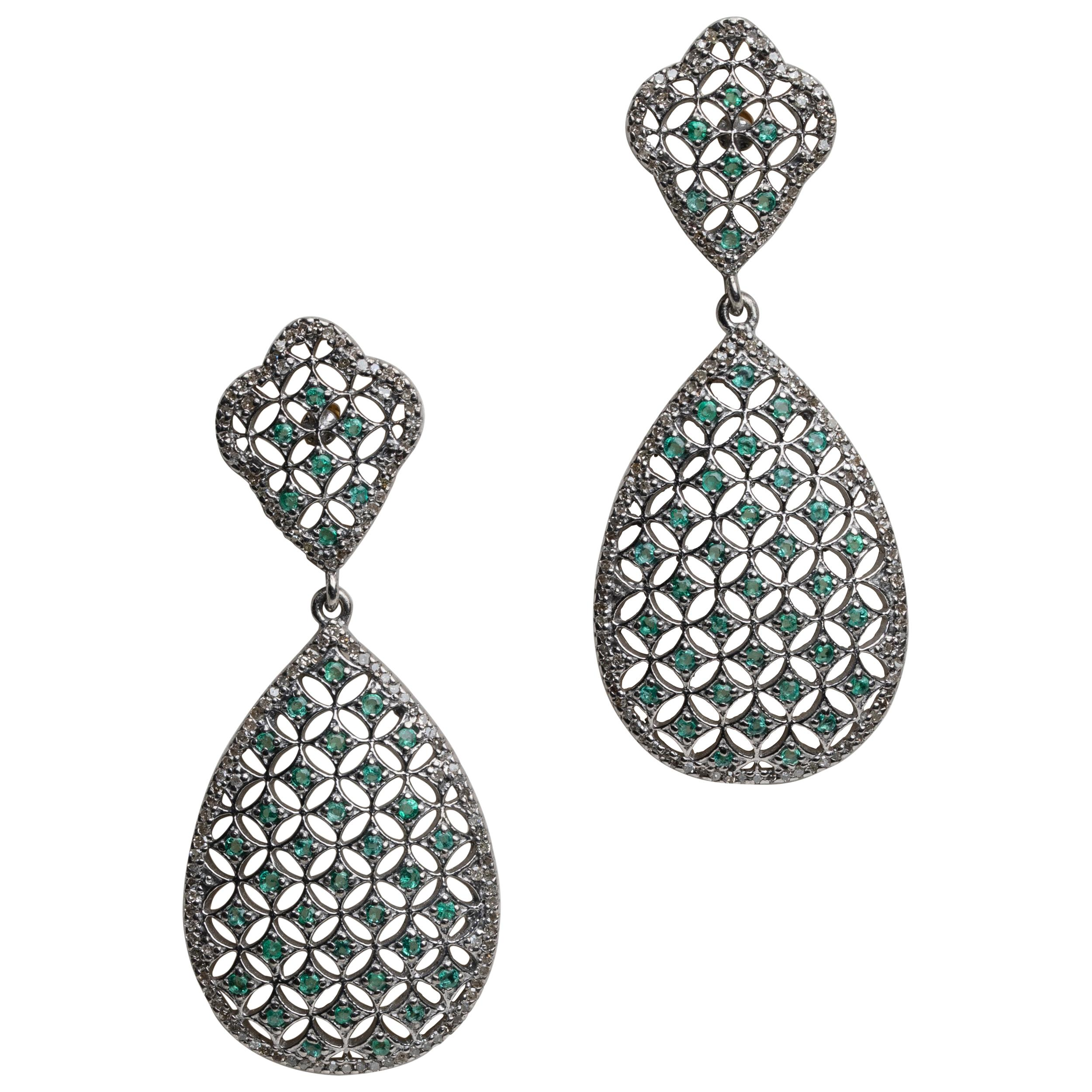 Diamond and Emerald Chandelier Dangle Earrings