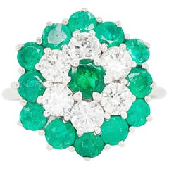 Diamond and Emerald Cluster Ring, 18 Karat Gold 2 Carat Emerald Diamond Ring