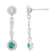 Double Tiered White Gold Halo Emerald and Halo Diamond Cluster Drop Earrings