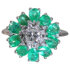 Diamond and Emerald Cocktail Ring, Vintage Look