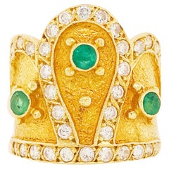 Diamond and Emerald Crown Ring in 18 Karat Yellow Gold, Custom Royal Crown Ring