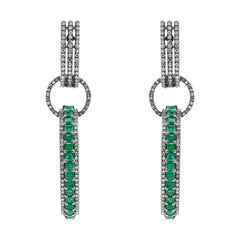 Diamond and Natural Emerald Dangle Hoop Earrings in Art Deco Style