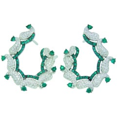 Diamond and Emerald Earrings in 18 Karat White Gold