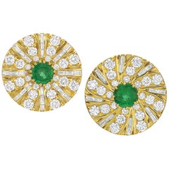 Diamond and Emerald Earrings in 18 Karat Yellow Gold by Andrew Glassford