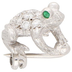Diamond and Emerald Frog Pin Brooch Set in 18 Karat White Gold