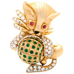 Diamond and Emerald Gold Cat Brooch