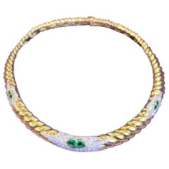 Diamond and Emerald Gold Necklace