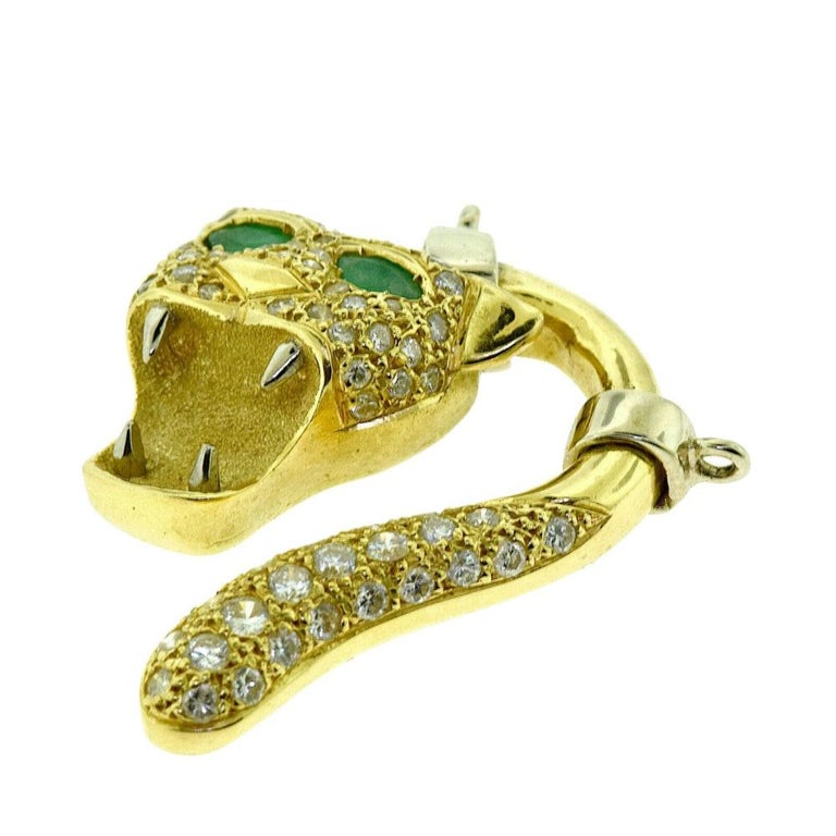 Brilliance Jewels, Miami Questions? Call Us Anytime! 786,482,8100  Style: Pendant  Metal: Yellow Gold                   Whtie Gold  Metal Purity: 18k  Stones: 2 Emerald (eyes)                    58 Round Diamonds  Emerald Carat Weight:1.46 ct (0.73