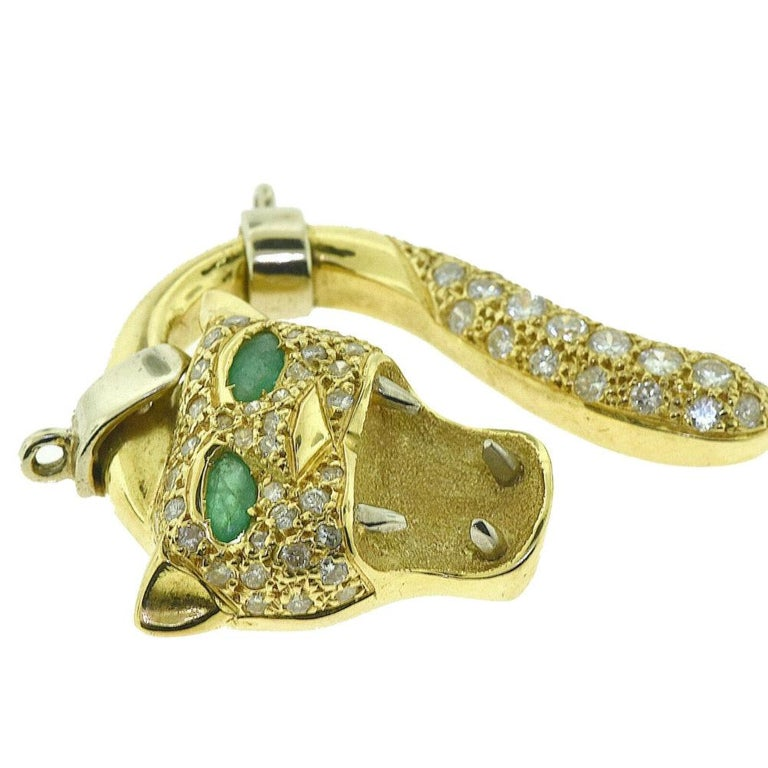 Diamond and Emerald in 18k Yellow & White Gold Screaming Panther Face Pendant  For Sale 1