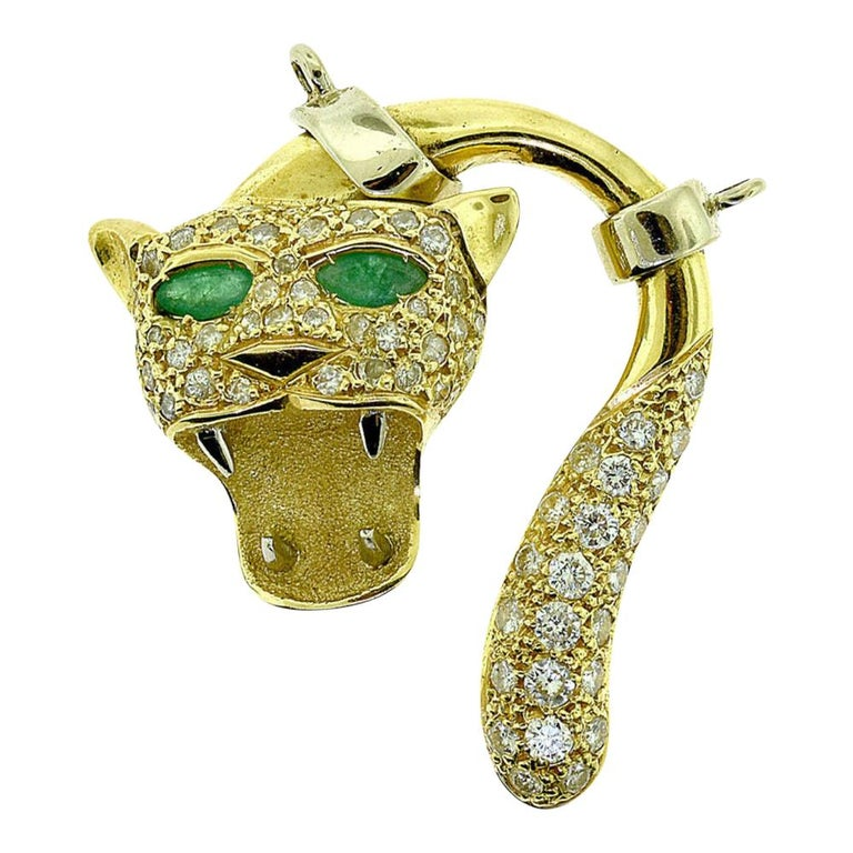Diamond and Emerald in 18k Yellow & White Gold Screaming Panther Face Pendant  For Sale