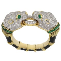 Diamond and Emerald Lion's Head Bangle by David Webb