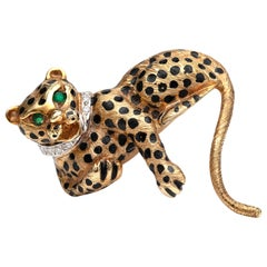 Diamond and Emerald Panther Brooch