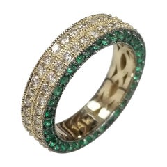 Diamond and Emerald Pave Eternity Ring