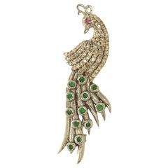 Diamond and Emerald Peacock Brooch