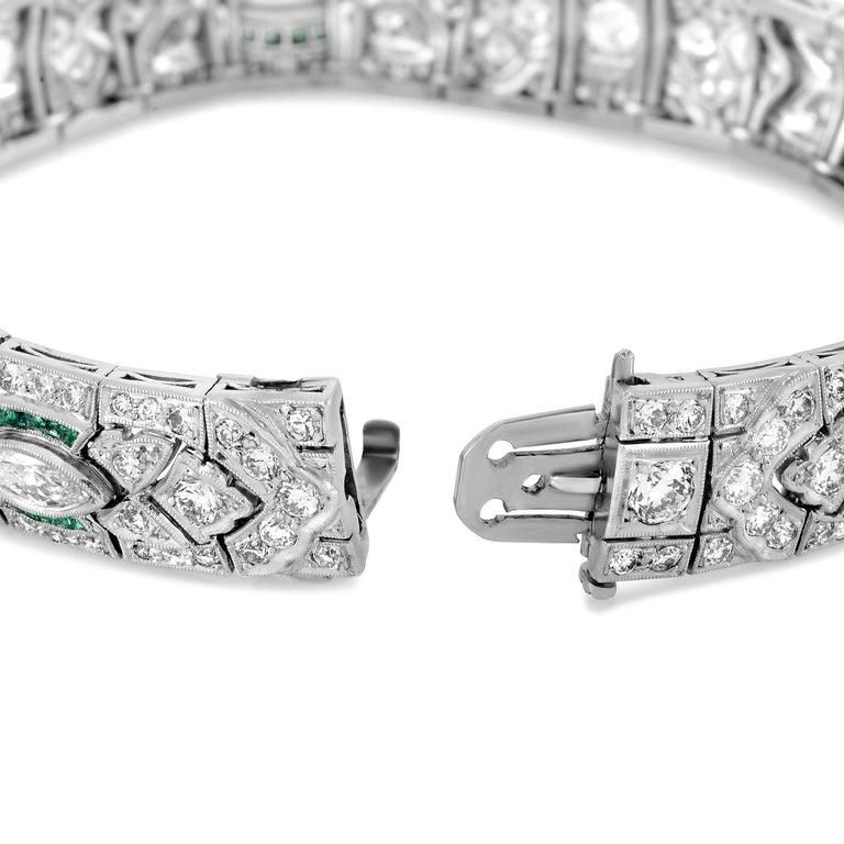 Women's Diamond and Emerald Platinum Art Deco Bracelet For Sale