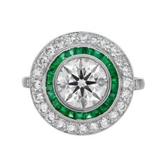 2 tcw Round Diamond and Emerald Double Halo Engagement Ring in Platinum