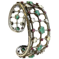 Diamond and Emerald, Ruby Cult Bangle Bracelet St. Silver
