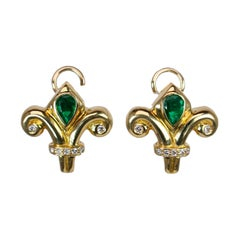Diamond and Emerald Tulip Earrings