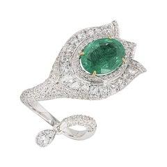 Diamond and Emerald Wrap Around Ring