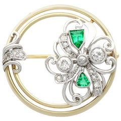 Diamond and Emerald Yellow Gold Brooch, Art Deco, Antique, circa 1930