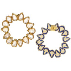 Diamond and Enamel Abstract Earring Handcrafted in 18 Karat Yellow Gold