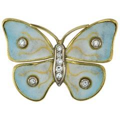 Diamond and Enamel Butterfly Brooch