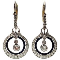 Diamond and Enamel Dangle Earrings in Platinum