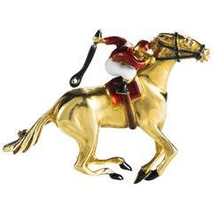 Diamond and Enamel Horse and Jockey Equestrian Pin Brooch, 18 Karat Gold