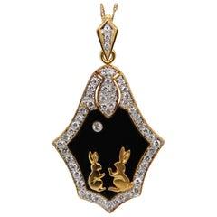 Diamond and Enamel Pendant in 18 Karat Gold