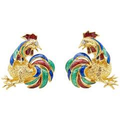 Diamond and Enamel Rooster Earrings in 18 Karat Yellow Gold