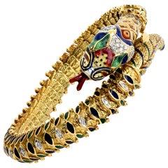 Diamond and Enamel Snake Bracelet in 18 Karat Yellow Gold